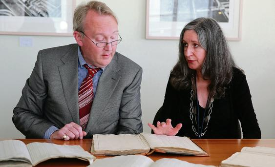 Catriona Crowe, head of special projects at the National Archives of Ireland, and Brian Donovan, director of findyourpast.ie, at the launch of the Pre-1901 Online Census records. Photo: Arthur Carron