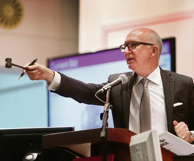 Auctioneer Gary Murphy at Allsops Auction at the RDS yesterday