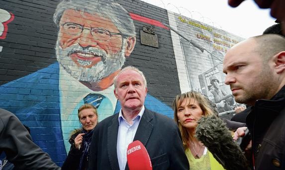 Martin McGuinness and Martina Anderson addresses nationalist gathered on the Falls Road in support of Gerry Adams. Photo: Jeff J Mitchell