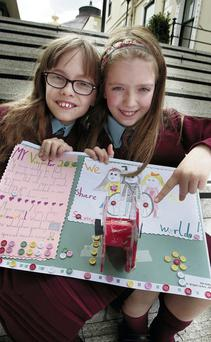Abi and Laura Kelly show off their idea for wheelchair trampolines which they submitted to Dublin City Council's 'Imagine' programme