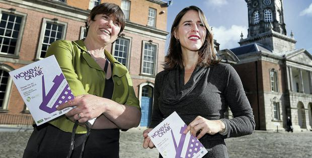 Maggie O'Kane from 'The Guardian' (L) and Katie Orenstein from The OpEd Project at the conference in Dublin Castle. Picture: Steve Humphreys