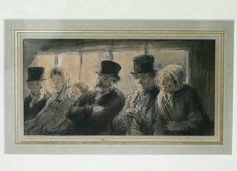 'In The Omnibus' by French artist Honore Daumier goes back on display at Dublin's Hugh Lane Gallery yesterday after it was recovered by officers from CAB. The painting was ripped from a wall in June 1982 during a children's art class