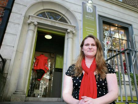 Bebhinn Flood outside The Design House on Dawson Street, Dublin. The designer decided to take a leap and start her own business last summer. Picture: Arthur Carron