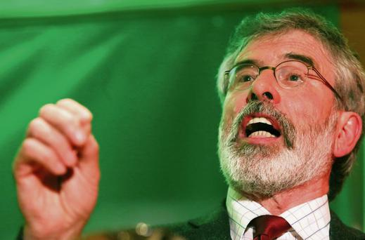 Gerry Adams after he was released from Antrim Police Station a week ago. Photo: Brian Lawless