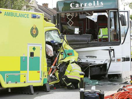 The scene of the accident between an ambulance and a schoolbus on the Ballymakenny road in Drogheda.