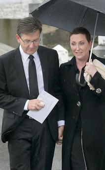 Daniel and his wife Majella at his mother's funeral