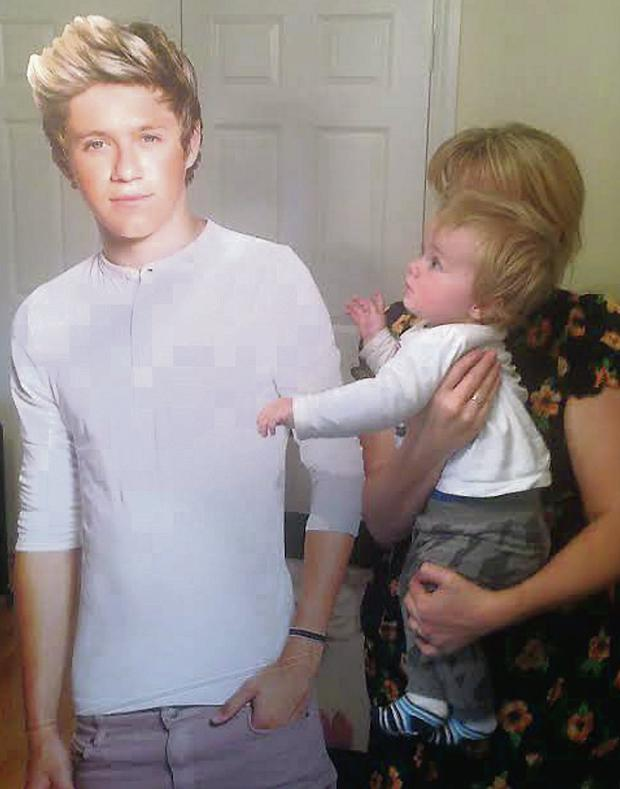 A cardboard cutout of Niall Horan with his nephew Theo.