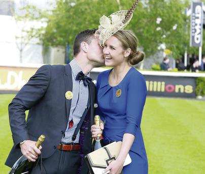 Rachael Moorhead, winner of The K Club Classic Icon prize and the Best Dressed Man, Jonny Tuffey. Conor Healy