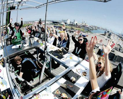 Brave diners are hoisted 100ft above Dublin for a 'Picnic in the Sky'