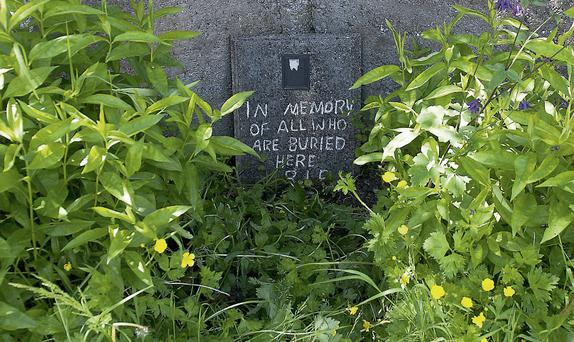 A makeshift plaque at the site of the mass grave in Tuam