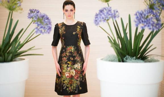 Floral Fancy: Dress by Dolce&Gabbana from Brown Thomas A/W showcase (Photo: Leon Farrell/ Photocall Ireland)