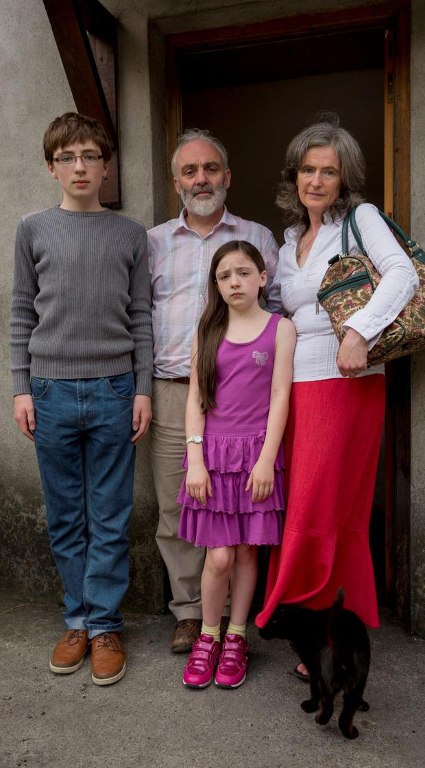 Eddie O'Neill and Monica O'Connor with their kids Oran (13) and Elva (10) at their home near Tullow Co Carlow. Photo: Dylan Vaughan
