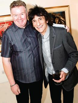 Richie Taylor pictured with Ronnie Wood of the Rolling Stones