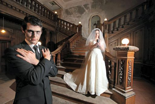 Actors in ghostly mode inside the haunted Loftus Hall in Co Wexford