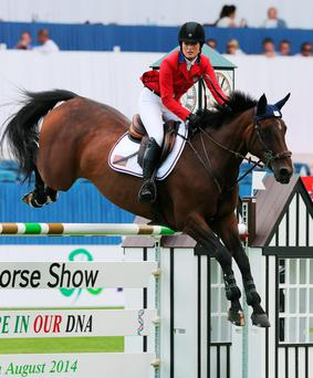 Jessica Springsteen competes at the Dublin Horse show