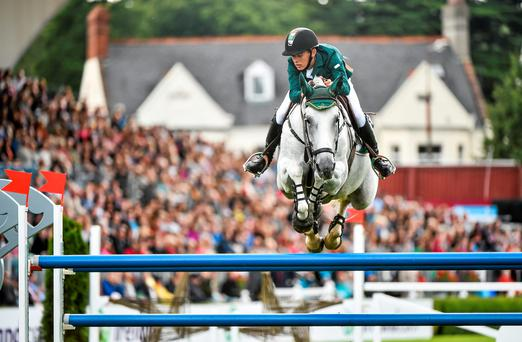 Ireland's Bertram Allen, competing on Molly Malone V, on his second run during the Aga Khan Nations Cup. Photo: SPORTSFILE