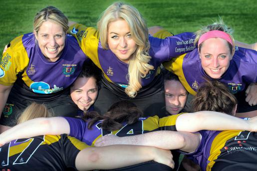 Niamh Horan in the front row of the scrum with Fiona Spillane, Lisa Callander, Ali Bird and Aoife Maher