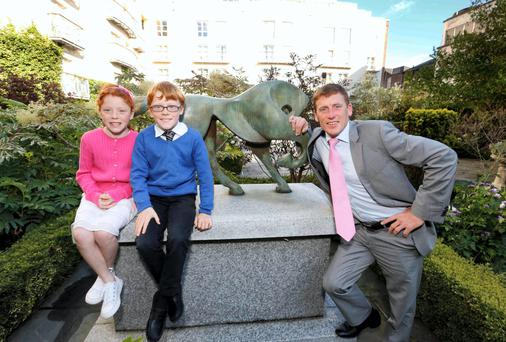 Left to right, Grace and Tom with their dad Johnny Murtagh at the inaugural Irish Champions Weekend at Dublin's Restaurant Patrick Guilbaud. Photo: Sasko Lazarov