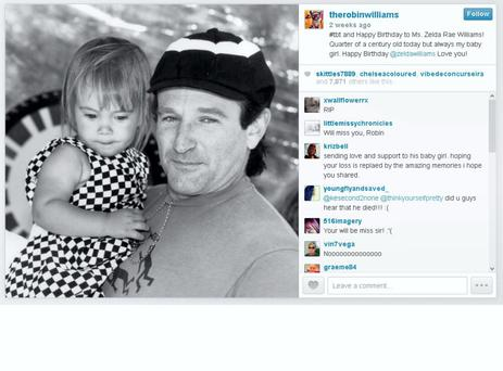 Robin Williams' final tweet - a poignant photo of him with his daughter Zelda Rae