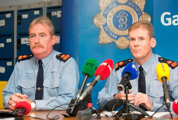 Superintendent Brendan Connolly and Superintendent Paul Moran brief the media at Bellyfermot Garda station