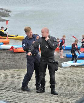 Irish naval divers prepare to search for the missing sailors. Photo: Provision
