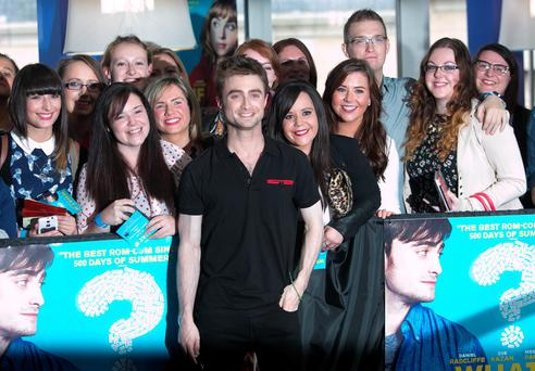 Daniel Radcliffe with fans at the Irish Premier of What If at Cineworld on Parnell Street, Dublin. Photo: Gareth Chaney
