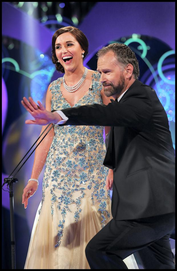 Scotland Rose Michelle Kelly with Daithi O Se at The Rose of Tralee International Festival at The Dome last night. Photo: Steve Humphreys