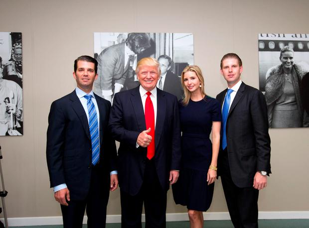 Donna Trump with his daughter and two sons