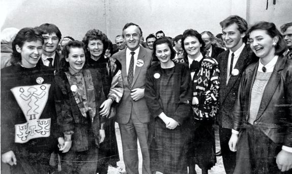 Albert Reynolds with his wife Kathleen and their seven children