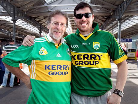 EARLY START: Francis O'Connor snr and jnr of Pallas, Listowel, travelled early and support the strikers. Photo: Tony Gavin