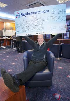 Niall Carew at his local Boylesports in Citywest after he netted €170,000. Photo: Stephen Collins