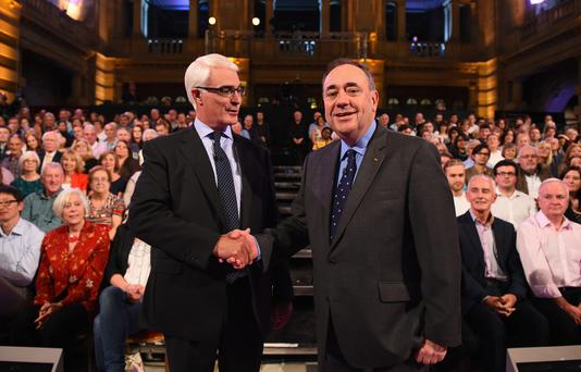 Alex Salmond (R) First Minister of Scotland and Alistair Darling (L) chairman of Better Together take part in a live television debate by the BBC in the Kelvingrove Art Galleries