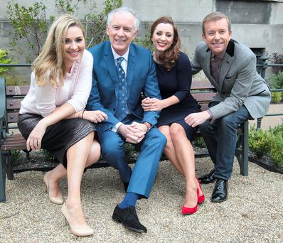 Anna Daly, Mark Cagney, Sinead Desmond and Alan Hughes of 'Ireland AM' at TV3's autumn schedule launch at The Mansion House in Dublin yesterday. Photo: Brian McEvoy