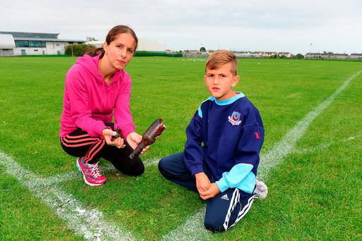Drogheda Boys under 9 player Dominikas Linkevicius and his mum Michelle are disgusted with the vandalism that the club experienced in recent times. Photo: Ciara Wilkinson