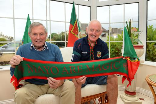 Paddy Prendergast, who played for Mayo in the 1940s but lives in Tralee, and his friend Paddy Joyce get ready for the match