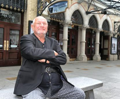 Steven Berkoff outside the Gaiety Theatre in Dublin.