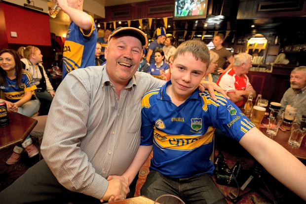 Thomas Broderick (Kilkenny Fan) and his son Conor (Tipp Fan) pictured at the Urlingford Arms in Urlingford County Kilkenny