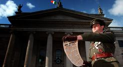 A re-enactment of the Proclamation reading outside the GPO.