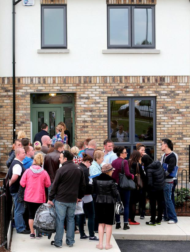 Bubble: People queuing to purchase new homes in the Millers Glen estate in Swords Co Dublin earlier this month. But, while the credit famine continues, there simply cannot be another property bubble. Photo: Gerry Mooney.