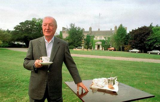 Taoiseach Charles Haughey at his Abbeville residence at Kinsealy in 1995. Photo: Eamon Farrell/Photocall Ireland