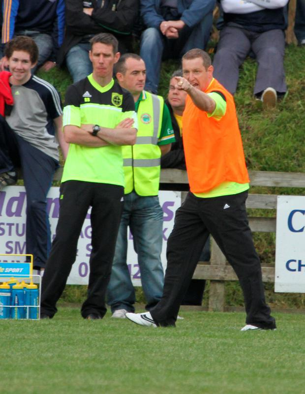 Fine Gael candidate John McNulty on the sidelines for his beloved Kilcar team, who defeated Glenswilly yesterday in the county championship. Photo: North West Newspix