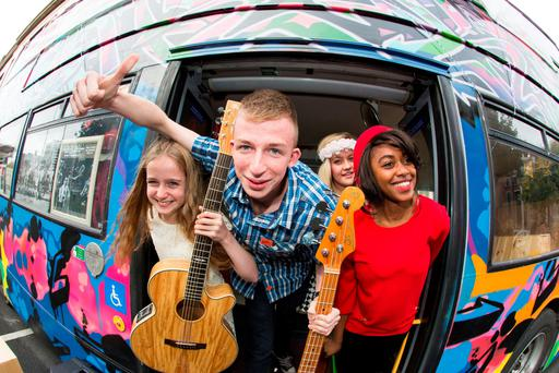 Students Sean Faherty, Ciara Faherty and Emily Brophy, from Music Generation at the Laois School of Rock and Pop, and Denise Chaila, a tutor from Music Generation Limerick, at the NCH