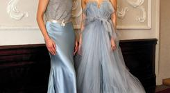 The €11,250 'Serenade' dress (left) in dusty blue heavy weight silk satin and Johanna's 'Fontaine' dress in Wedgewood blue, €9,750