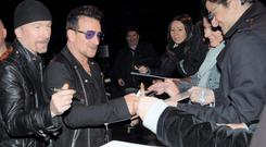 Bono and Edge arriving at RTE for The Late Late Show. Photo: John Dardis.