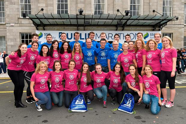 The 31 members of the Hughes Family who are running the SSE Airtricity Dublin Marathon today.