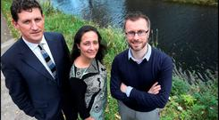 Green Party leader Eamon Ryan, deputy leader Catherine Martin and chairman and justice spokesperson Roderic O'Gorman at the party's campaign launch for a referendum on the public ownership of water at the Hilton Hotel on the Grand Canal in Dublin
