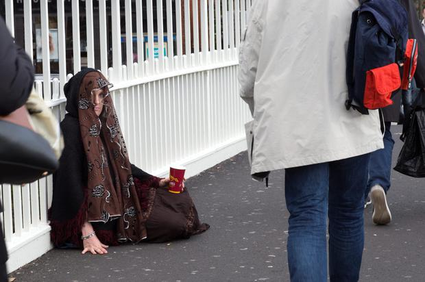 Different point of view: 'I kept my eyes to the ground out of fear of people talking to me. I felt really sorry for the person I was pretending to be,' says Barbara McCarthy who posed as a Roma beggar for a day. Photo: David Conachy
