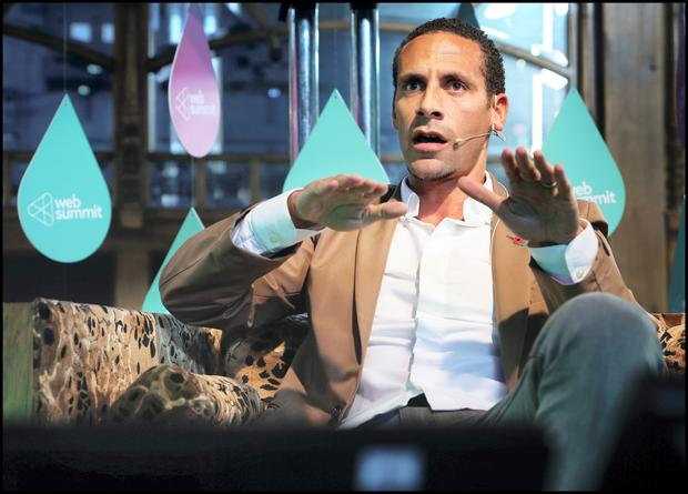 Former Manchester United player Rio Ferdinand told guests at the Dublin Web Summit how savage criticism from his former captain, Roy Keane, gave him an edge in football. He also revealed that death threats and abusive comments are the norm for sportsmen and women. Photo: Steve Humphreys