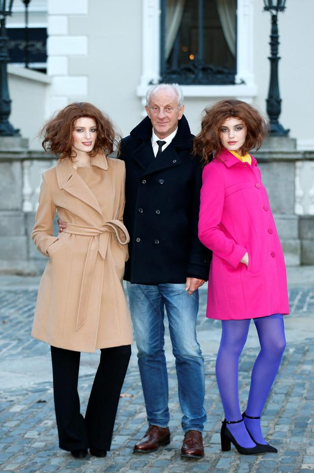 Paul Costelloe and models Abby Harris and Grace Connolly pictured at the launch of the Paul Costelloe Living Studio, an exclusive capsule womenswear collection for Dunnes Stores at The Dawson Brasserie, Dublin 2