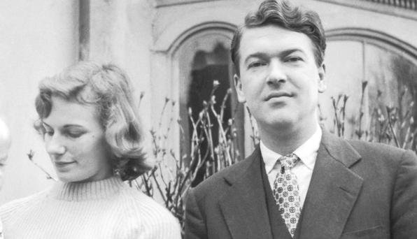 DOUBLING UP: Hilly Amis had a lover while she was married to English novelist and poet Sir Kingsley Amis. They are pictured here together in 1956